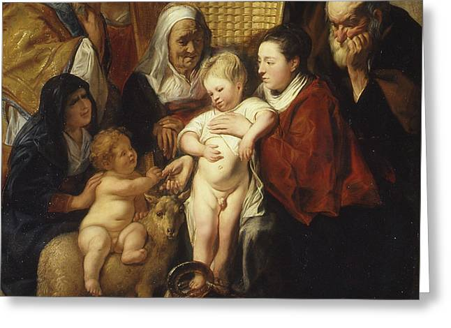 The Holy Family With Saint Anne And The Young Baptist And His Parents Greeting Card by Jacob Jordaens