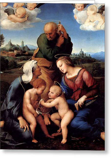 The Holy Family With Saints Elizabeth And John Greeting Card by Raffaello Sanzio