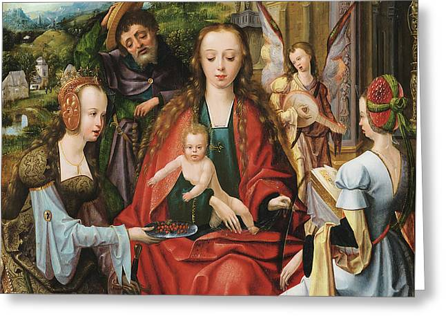 The Holy Family With Two Saints Greeting Card by Master Of The Antwerp Adoration