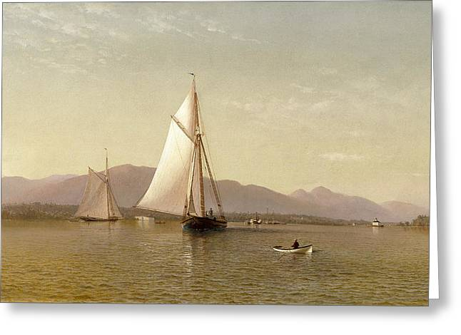 The Hudson At The Tappan Zee Greeting Card by Francis Augustus Silva
