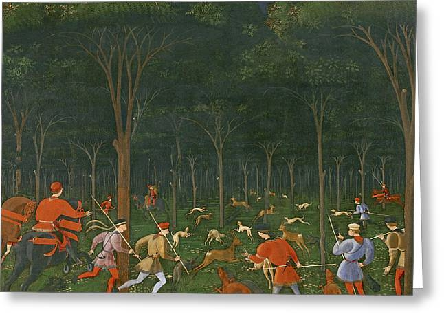 The Hunt In The Forest Greeting Card by Paolo Uccello