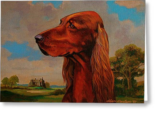 The Irish Setter Greeting Card by Alan Carlson