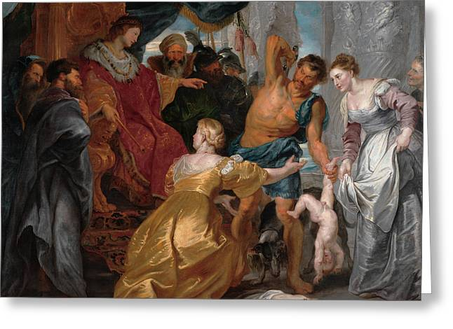 The Judgment Of Solomon Greeting Card by Peter Paul Rubens