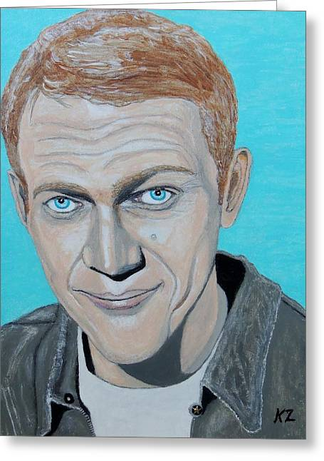 The King Of Cool.steve Mcqueen. Greeting Card by Ken Zabel
