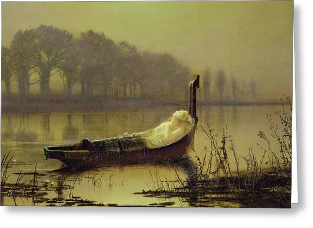 The Lady Of Shalott Greeting Card by John Atkinson Grimshaw