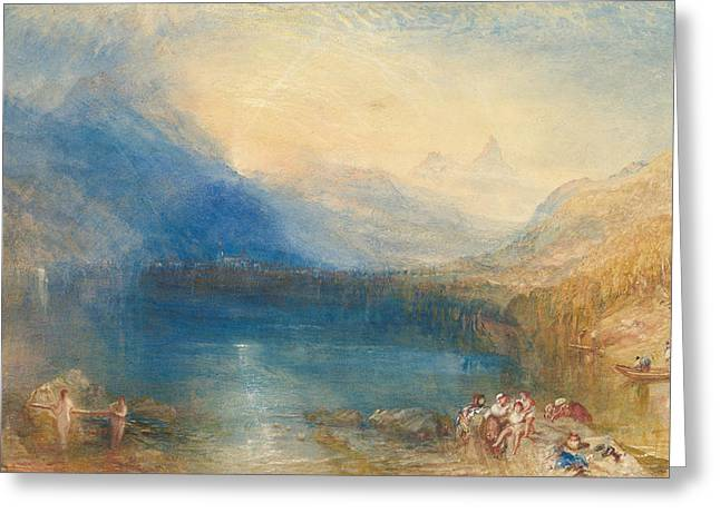 The Lake Of Zug Greeting Card by Joseph Mallord William Turner