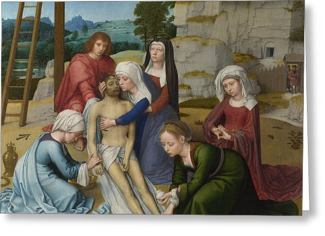 The Lamentation Over The Dead Christ Greeting Card by Gerard David