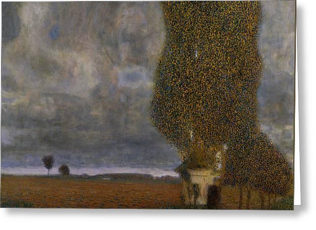 The Large Poplar II Gathering Storm Greeting Card by Gustav Klimt