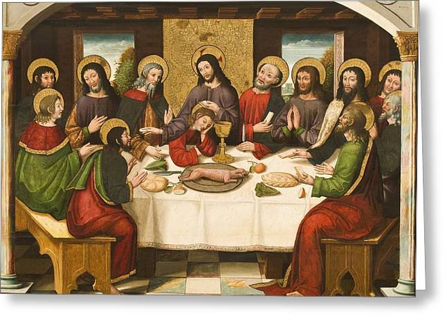 Table Wine Greeting Cards - The Last Supper Greeting Card by Master of Portillo