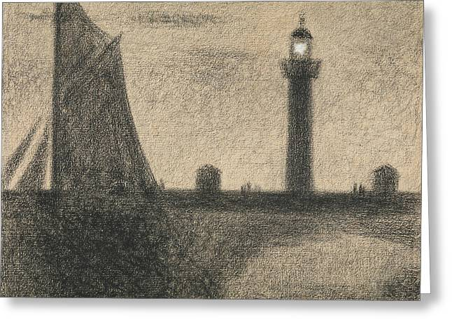 The Lighthouse At Honfleur Greeting Card by Georges-Pierre Seurat