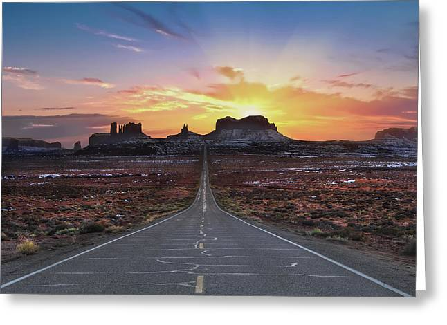 The Long Road To Monument Valley Greeting Card by Larry Marshall