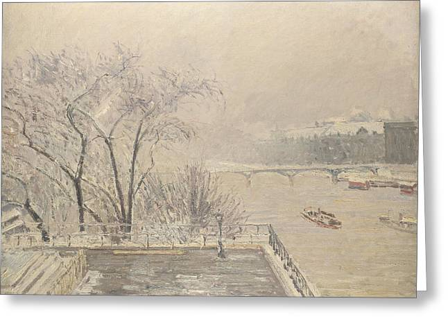 The Louvre Under Snow Greeting Card by Camille Pissarro