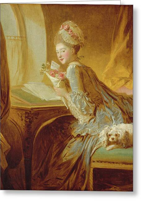 Greeting Card featuring the painting The Love Letter by Jean Honore Fragonard