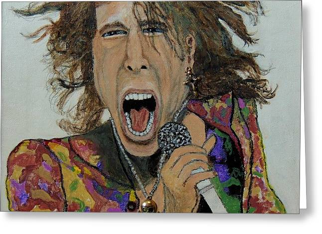 The Madman Of Rock.steven Tyler. Greeting Card by Ken Zabel