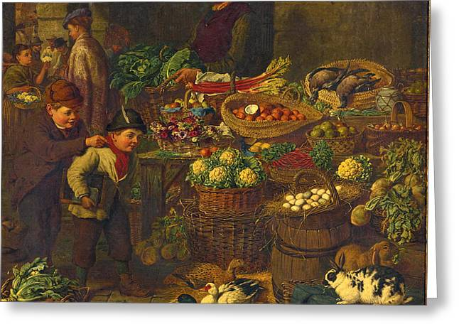 The Market Stall Greeting Card by Henry Charles Bryant