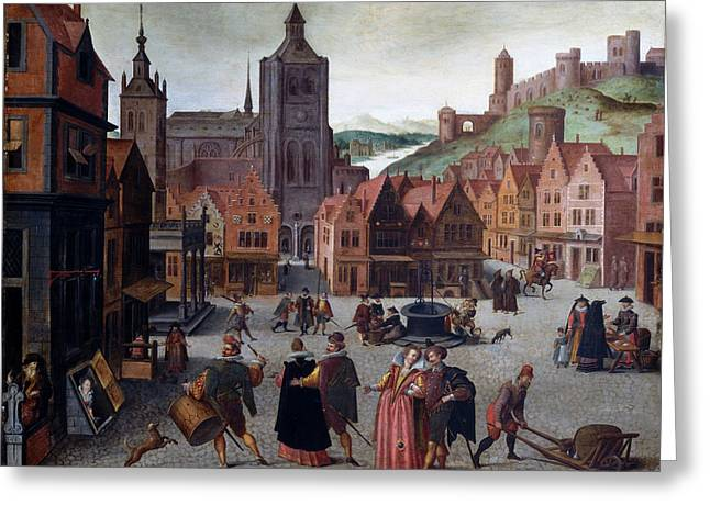 The Marketplace In Bergen Op Zoom Greeting Card