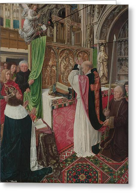 The Mass Of Saint Giles Greeting Card by Master of Saint Giles