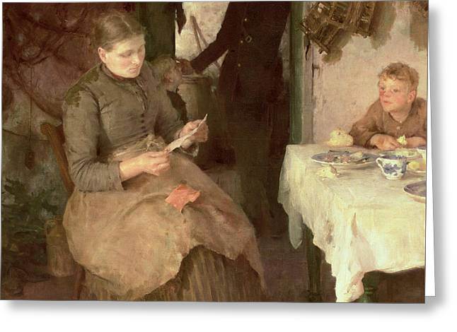 The Message Greeting Card by Henry Scott Tuke