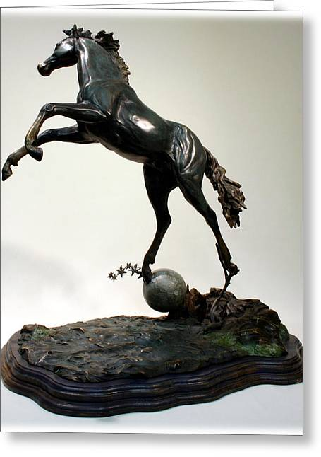 Greeting Card featuring the sculpture The Moonhorse Bronze  by Dawn Senior-Trask