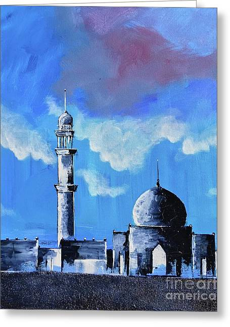 Greeting Card featuring the painting The Mosque by Nizar MacNojia