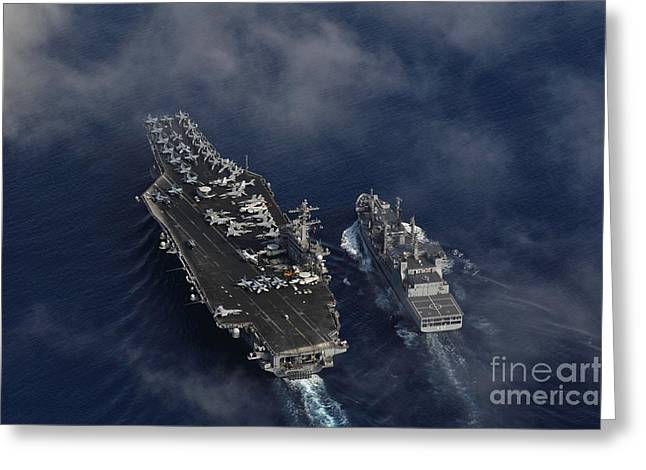 The Nimitz-class Aircraft Carrier Uss Carl Vinson Greeting Card by Celestial Images