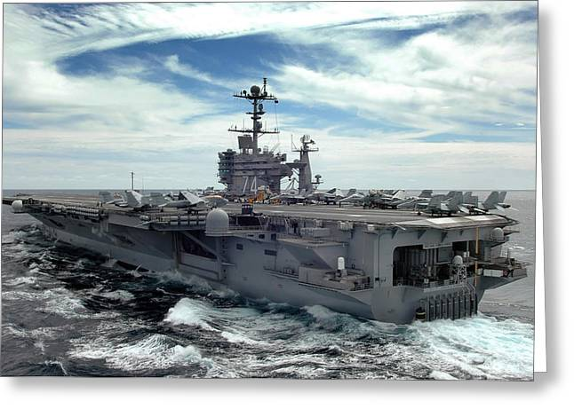 Nimitz-class Greeting Cards - The Nimitz-class Aircraft Carrier Uss Greeting Card by Stocktrek Images
