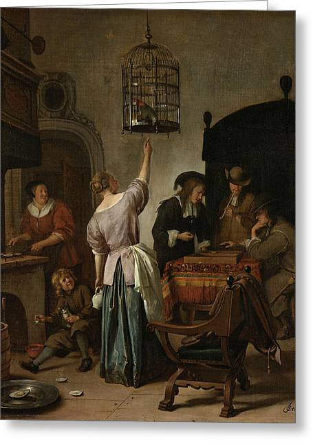 The Parrot Cage Greeting Card by Jan Steen