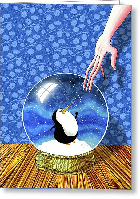 The Penguin Who Didn't Like Snow  Greeting Card by Andrew Hitchen