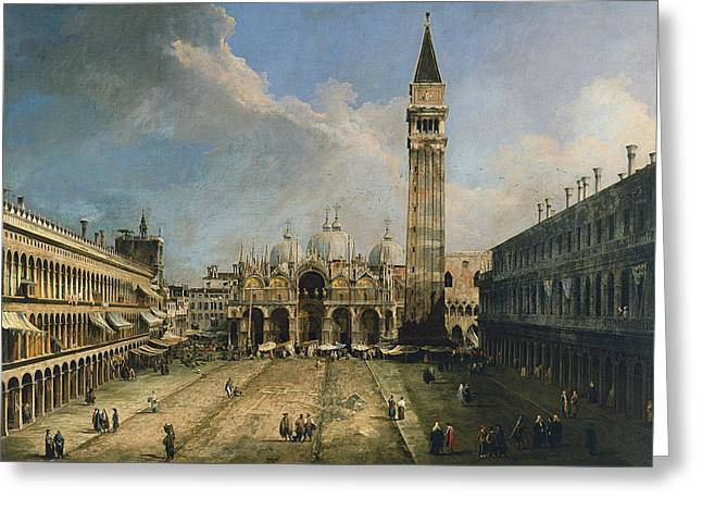 The Piazza San Marco In Venice Greeting Card by Canaletto