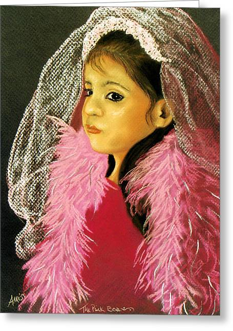 Greeting Card featuring the pastel The Pink Boa by Jan Amiss