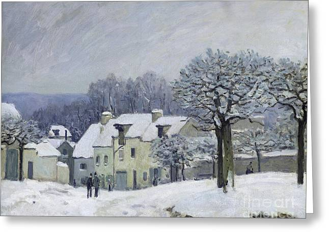 1876 Greeting Cards - The Place du Chenil at Marly le Roi Greeting Card by Alfred Sisley