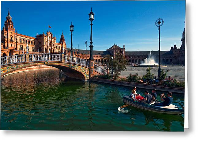 The Plaza De Espana, In Maria Luisa Greeting Card by Panoramic Images