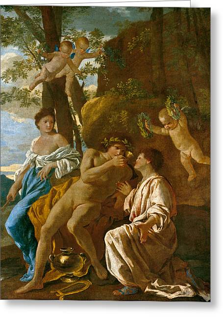 The Poet's Inspiration Greeting Card by Nicolas Poussin