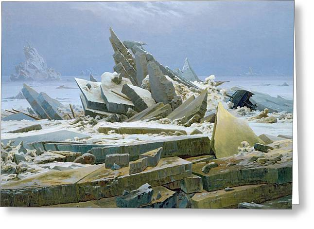Shards Greeting Cards - The Polar Sea Greeting Card by Caspar David Friedrich