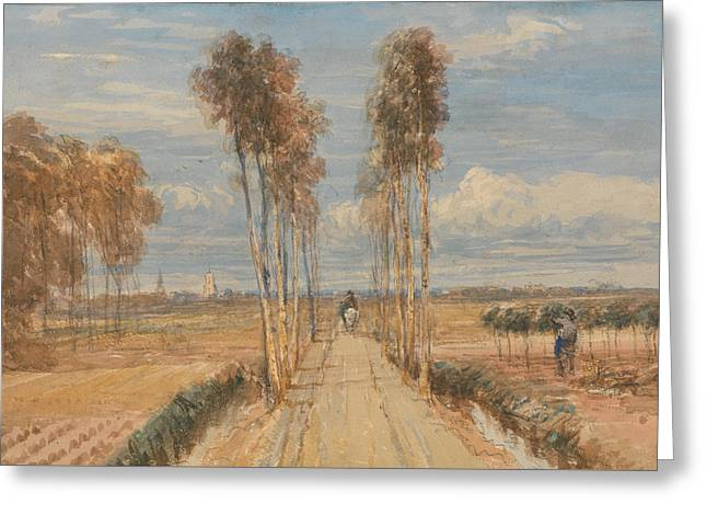 The Poplar Avenue, After Hobbema Greeting Card by David Cox