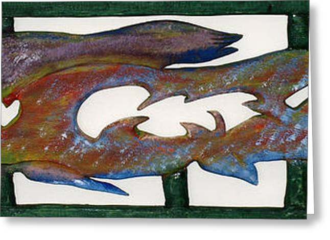 Greeting Card featuring the mixed media The Prozak Fish by Robert Margetts