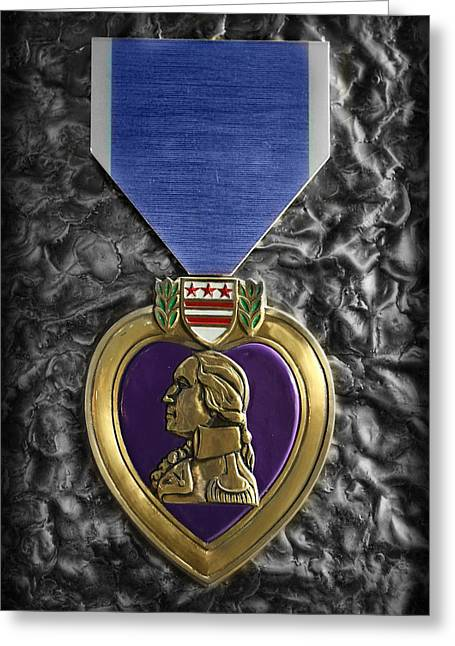 The Purple Heart  Greeting Card by Lee Dos Santos