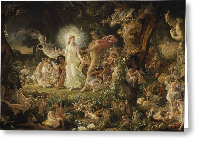 The Quarrel Of Oberon And Titania Greeting Card