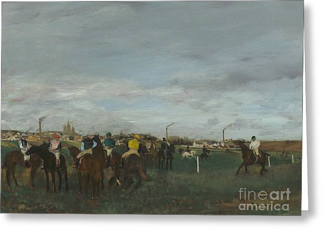 The Races Greeting Card by Edgar Degas