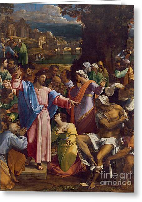 The Raising Of Lazarus Greeting Card by Sebastiano del Piombo