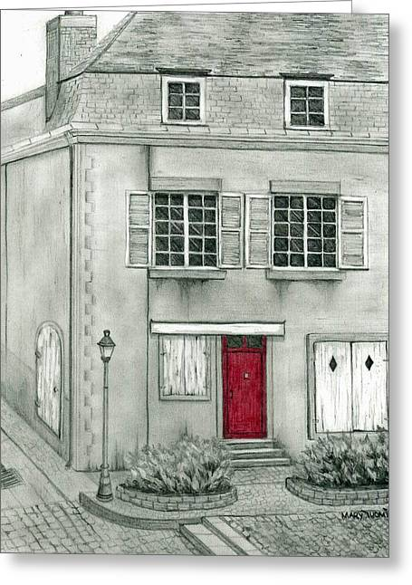 French Door Drawings Greeting Cards - The Red French Door Greeting Card by Mary Tuomi