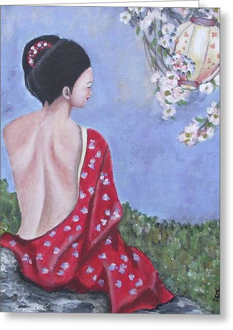 The Red Kimono Greeting Card by Kim Selig