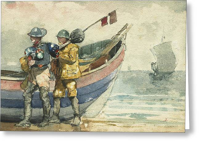 The Return, Tynemouth Greeting Card by Winslow Homer