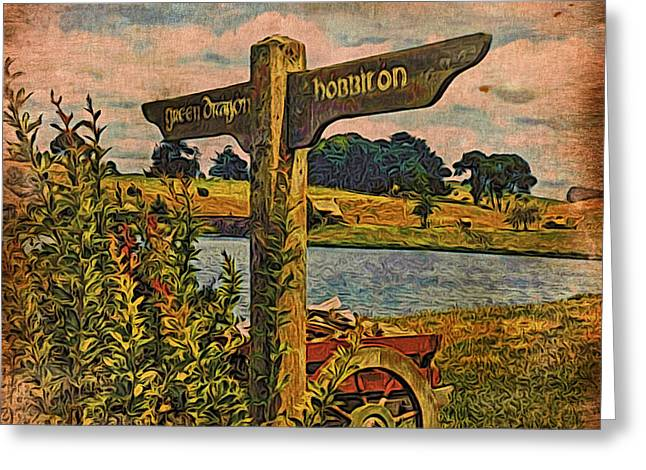 Greeting Card featuring the digital art The Road To Hobbiton by Kathy Kelly