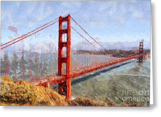 The San Francisco Golden Gate Bridge . 7d14507 Greeting Card by Wingsdomain Art and Photography