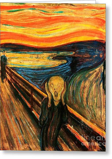 The Scream Greeting Card by Pg Reproductions