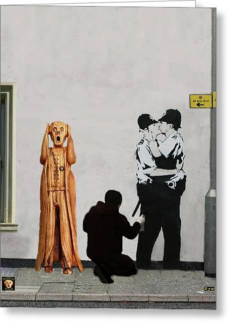 The Scream World Tour Street Art Greeting Card by Eric Kempson