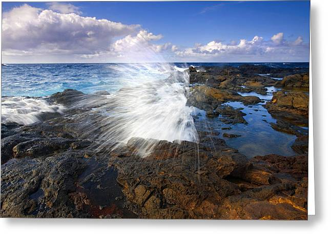 The Sea Erupts Greeting Card by Mike  Dawson