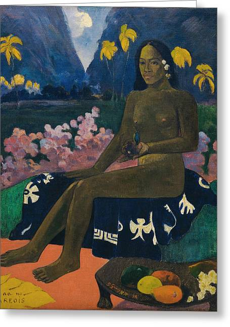 The Seed Of The Areoi Greeting Card by Paul Gauguin