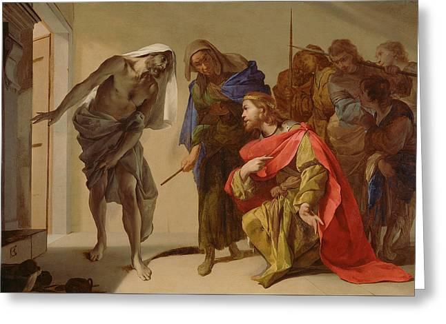 The Shade Of Samuel Invoked By Saul Greeting Card by Bernardo Cavallino